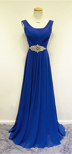 Cheap Blue Chiffon Long Prom Dresses Crystal Elegant Sweep Train Popular Evening Gowns. long evening dress, chiffon formal dresses, royal blue prom dress, crystal sash prom dress, www.suzhoudress.com