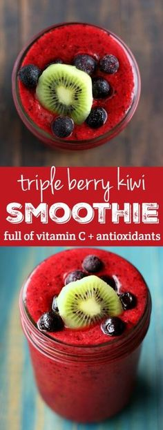 A Triple berry kiwi smoothie that's packed with antioxidants and vitamin C. Perfect for the winter months! Triple Berry Kiwi Smoothie - This triple berry smoothie is full of antioxidants and vitamin c to help keep you healthy this winter! Smoothies Vegan, Smoothie Drinks, Berry Smoothie Recipe, Homemade Smoothies, Strawberry Kiwi Smoothie, Yummy Smoothie Recipes, Detox Drinks, Nutribullet Recipes, Drink Recipes