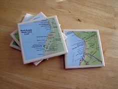 A tutorial on how to make Memoir Tile Coasters... using leftover maps from a trip, scrapbook paper, pictures... this can be used for all kinds of things you have around the house...and match your decor... and it will mean much more than something that you bought at some random store!!!