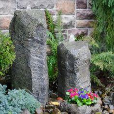 LiquidArt Fountains Double Cascade with Accent Rock Planter
