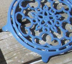 $40 - Antique Vintage Cast Iron Trivet Round Azure Blue enamel Pot Stand Hot Plate Clouds and Sun