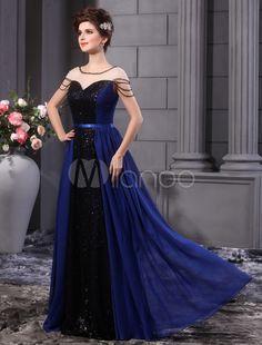 A-line Royal Blue Chiffon Sequin Floor-Length Fashion Prom Dress
