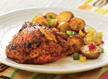 Achiote-Marinated Chicken and roasted potatoes and pepper.