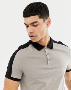 9d78b3a2f63c ASOS DESIGN polo shirt with contrast shoulder panel in beige