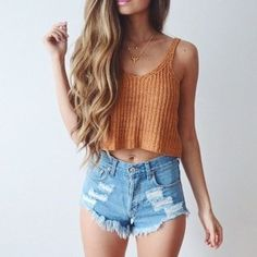 New Ladies Women Knitted Short Sleeveless Crop Tops Lady Vest Tanks Camis Bralet Bra Fashion New Summer Outfits - Damen Mode 2019 Fashion Mode, Look Fashion, Denim Fashion, Teen Fashion, Womens Fashion, Ladies Fashion, Fashion Outfits, Fashion Ideas, Fashion Trends