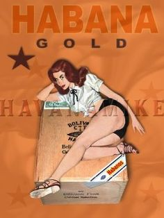Amazon.com: HABANA GOLD Cuban Cigar Pinup Girl Poster Art Print 18x24: Home & Kitchen