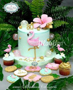Idea for cookie favors Pink Flamingo Party, Flamingo Cake, Flamingo Birthday, Luau Party, Hawaiian Party Cake, Hawaiian Birthday Cakes, Cake Birthday, Cupcakes Decorados, Hawaii Cake