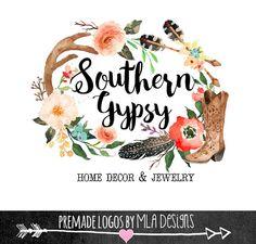 Premade Logo -  Watercolor Logo, Country Custom Logo, Wedding Logo, Gypsy Boho, Custom Logo Design, Photography Logo, Boutique Logo