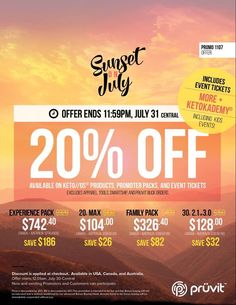 https://jaclynloves.pruvitnow.com/  SPECIAL OFFER ALERT: The sun is going down on July but not without one last chance to get KETO//OS products, Promoter Packs, and Event Tickets with a special 20% OFF!! Hurry, offer ends at 11:59pm CT, July 31.