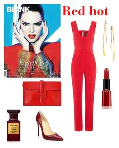 """""""Red hot"""" by sepholovesfashion ❤ liked on Polyvore featuring Roland Mouret, Christian Louboutin, Giorgio Armani, Hermès, Tom Ford and Lana"""