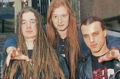 Gods, from left to right : Jeff Walker, Michael Amott and father Chuck Schuldiner