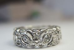 Antique Diamond Eternity Band Platinum Ring Size 7 EGL USA Art Deco Vintage Fine #WithDiamonds