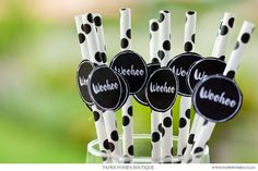 White Paper Straws With Black Spots And Black Woohoo Tag Bling by PaperPoniesBoutique. $6