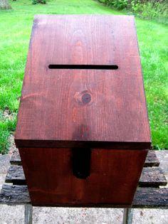 Large Wedding Card Box Wood With Slot Locking by GoshenPickers