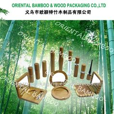 HOT--bamboo cosmetic packaging face cream jar with clear glass bottle