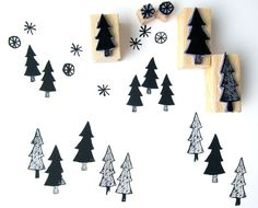 Pine Tree Stamp Sets – FOREST OF STARS STAMPS – a unique product by nuukk. Via en.DaWanda.com.