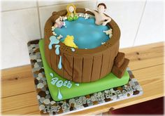 Hot tub cake by www.sweetthoughtcakes.com Cupcake Cakes, Cupcakes, Vand, Cakes For Men, Novelty Cakes, Cake Ideas, Tub, Cake Decorating, Projects To Try