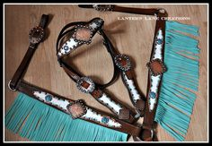 Custom tack set, antique copper conchos with turquoise fringe