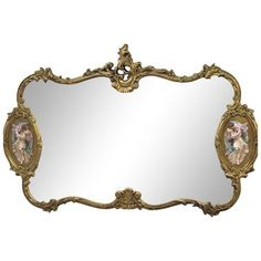 Antique Italian Baroque Gold Gilded Mirror ($3,175) ❤ liked on Polyvore featuring home, home decor, mirrors, wall mirrors, green mirror, gold gilt mirror, gold mirror, gilt mirror and gold home accessories