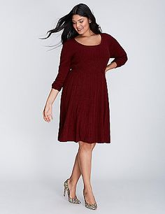 A classic cable knit sweater dress that you'll reach for all season long. No-closure, pullover styling. lanebryant.com