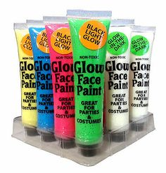 Lot 12 Glow in the Dark/ Blacklight Face Paint Halloween Costume Make Up