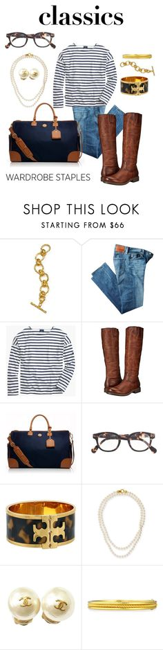 """""""Casual Classics"""" by southern-pearl ❤ liked on Polyvore featuring Julie Vos, AG Adriano Goldschmied, Saint James, Frye, Tory Burch, J.Crew, Elizabeth Locke and Chanel"""