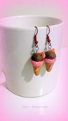 Orecchini in fimo handmade coni #gelato idea regalo donna , by Chiara - Creazioni in fimo, 8,00 € su misshobby.com
