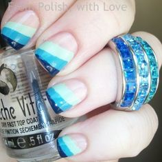 Breezy Blue Stripes. Wanna see more nail looks Join http://bellashoot.com (social beauty hub to talk/share beauty) or click image!