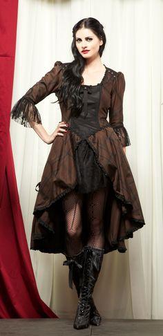 15aece07189 beggar woman s dress  Lip Service Steampunk Plaid Dress Gothic Goth Punk  Brown Black M