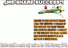 Prinde sansa WSS  INC https://www.youtube.com/watch?v=LUCdT35R3PY&feature=youtu.be NU  RATA TE INSCRI  www.wesharesuccess.com/?refid=59526   PRIMESTI ACTIUNI GRATUITE  .IN MOD   AUTOMAT   VEI  FI MEMBRU PERFECT INTERNET INC  AVAND O GALAXIE DE OPORTUNITATI DE CASTIGURI  . TIMPUL TRECE NU STA PE LOC