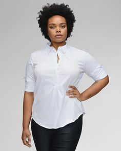 Plus Size Button Down Shirt --- The classic button-down shirt you've always wanted. With invisible built-in stretch and a front placket that stops midway, this shirt is engineered for maximum freedom of movement. No awkward gaping. No button popping. Capsule Wardrobe 2018, Plus Size Capsule Wardrobe, White Shirt Outfits, Curvy Outfits, Work Outfits, Plus Size Jeans, Plus Size Tops, African Wear Designs, Middle Age Fashion