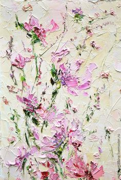"Pink flowers with palette knife painting. Картина маслом ""Простые мысли"" / Oil painting"