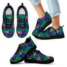 sale retailer 97be6 85e4d AUSTRALIA S FLAGSHOE - Kid s Sneaker (green bg - black lace) TH55