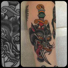 18 Dynamic Wolf Dagger Tattoos   Tattoodo.com
