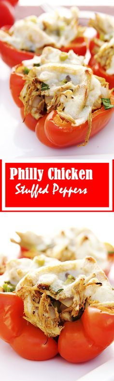 Philly Chicken Stuffed Peppers are low in carbs. Philly Chicken Stuffed Peppers are a great way to eat healthy. Philly Chicken Stuffed Peppers are quick and easy. I Love Food, Good Food, Yummy Food, Tasty, Low Carb Recipes, Cooking Recipes, Healthy Recipes, Ways To Eat Healthy, Healthy Eating