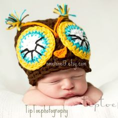 Adorable!  nmelone13 on etsy, offering these knit hats for babies and children