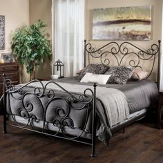 The Haven King Bed comes complete with bed frame, headboard, and footboard for an elegant and sturdy piece to the most important room in your home. With a unique scroll design iron frame in dark bronze, this bed will complete and transform your bedroom. Iron Furniture, Bedroom Furniture Stores, Furniture Design, Home Bedroom, Bedroom Decor, Bedrooms, Wrought Iron Beds, Steel Bed, King Bed Frame