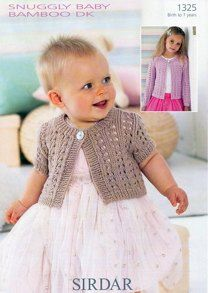 Long and Short Sleeved Cardigan in Sirdar Snuggly Baby Bamboo DK- 1325