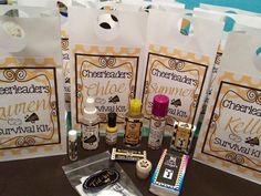 Cheerleader survival kit for cheer camp: tic tacs, Chapstick, water mister, nail polish, hand sanitizer, hair spray, tissues, sunscreen, gum & tidbits(q-tips, bobby pins, cotton pads, sanitizer wipes,, hair bands, nail file & band aids). Gift  goody bags #cheercamp #cheergift #cheerfavors