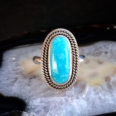 Sky Blue Kingman Turquoise Double Rope Shield Ring   Size 7.75-8 Kingman Turquoise, Vivid Colors, Sky, Stone, Rings, Silver, Gold, Blue, Jewelry