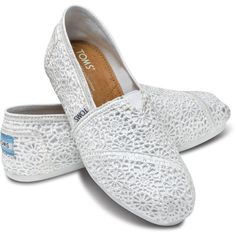 TOMS Crochet Classics White for Women Size 5 5 ❤ liked on Polyvore