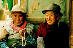 Two Tibetans  Two charming old Tibetan women, in Xiahe, that belongs officially to Gansu Province, even if there, it is already Tibet. The contrast between the Chinese city and the Tibetan one is a good and terrible illustration of the situation (China, Gansu, Xiahe, May 2005) by Nicolas Monnot.  Beautiful!