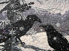 Two Ravens In Snowfall::Art Quilt by Thom Atkins