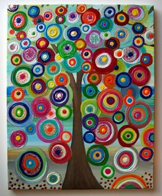 kids painted canvas | Fruit of the spirit tree