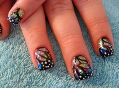 tropical holographic nails | Holographic Butterfly Wings - Nail Art Gallery