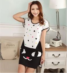 cool Adorable animation woman summer time pajamas nightgown woman summer time attractive woman that little princess large back yards brief sleeve tracksuit