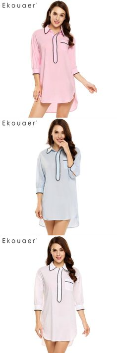 Women Long Sleeve Lace Pathwork Button Down Sleepshirt Nightgown Sleep FLTO