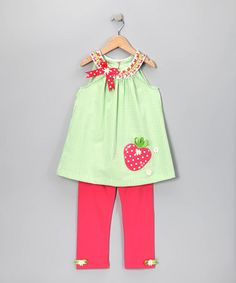 Take a look at this Lime Seersucker Yoke Top & Capri Leggings - Toddler & Girls by Blow-Out: Girls' Apparel on #zulily today!