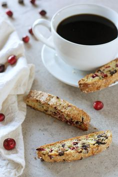 Recipe for crunchy, delicious cranberry pistachio dark chocolate biscotti. Perfect for dunking in coffee! And for homemade gift giving.