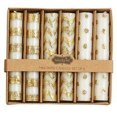 Gold Metallic Mini Taper Candle Set